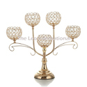 Decorative 5 Arm Crystal Bead Candelabra Golden Finish