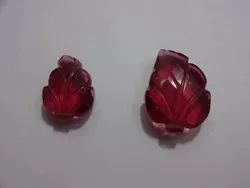 Pink Stone Synthetic,Hydro Glass Carving Leaf Pear Fancy Shape Loose Gemstone Pairing Set Of Pendant