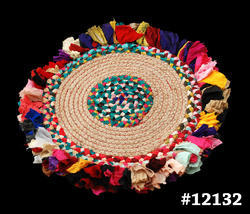 Multicolor Round Braided Rug For Home, Size: 50 X 50 Cms