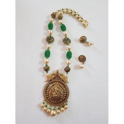Beaded And Pearls Fancy Artificial Necklace Set