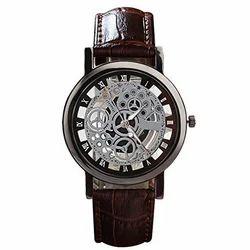 Mechanical Men Addic Wrist Watch Skeleton Engraving Hollow men's Watch (Brown&Silver)