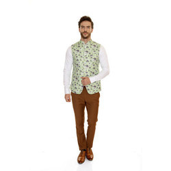 Green, White And Brown Italian Fabric Mens Shirt And Pant With Nehru Jacket