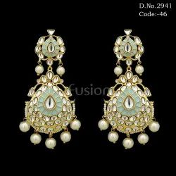Designer Contemporary Meenakari Kundan Earrings