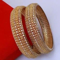 Ladies Party Wear Golden Artificial Fancy Bangles