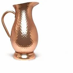 Hammered Cylindrical Indian Copper Water Jug for Restaurant, Capacity: 1 Liter