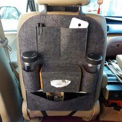 Black Multi Pocket Travel Storage Felt Bag, For Car Back Sheet