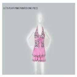 Pink Printed One Piece Swimwear