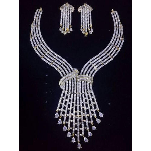 7c66388d99f Prakash White American Diamond Necklace Set