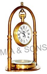 M.A & SONS Golden Antique Style Brass Spherical Table/Desk Clock with Compass