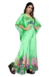 Free Size Beach Wear Satin Silk Long Printed Kurta Kaftan For Women