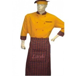 Chef Coat With Apron & Head Gear Executive Chef Wear Gold Yellow