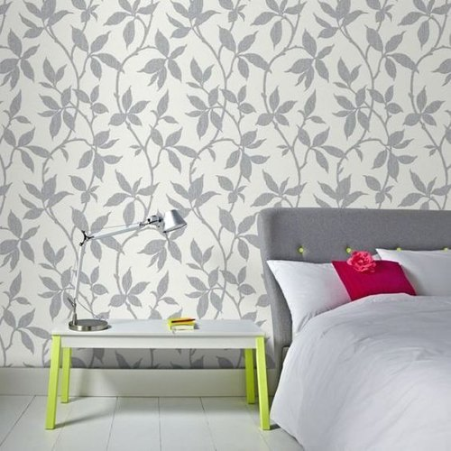 Leaf Print Grey And White Pvc Printed Bedroom Wallpaper For Wall Covering Rs 350 Roll Id 21530979112