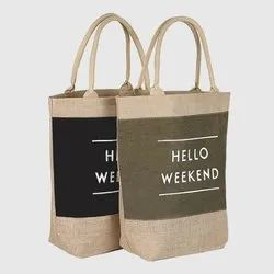 Green, Brown Fancy Jute Promotional Bag
