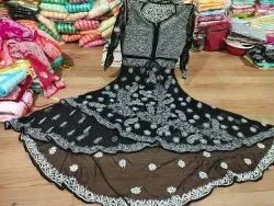 Georgette Chikan Handwork  Embroidery Gown