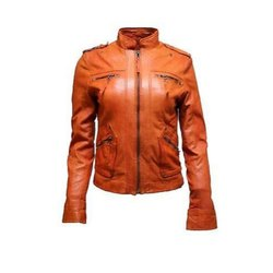 Full Sleeve Plain Casanova Zipper Ladies Leather Jacket, Size: S-XXL
