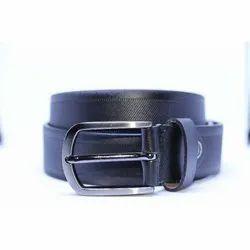 Dessert Textured Black Leather Belt