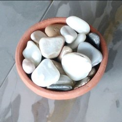 Flat Polished White Pebble Stone