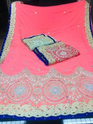 Dot Exports Border Fancy Embroidered Indian Sarees, With blouse piece