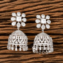 Cz Rhodium Plated Jhumki Earring 405504