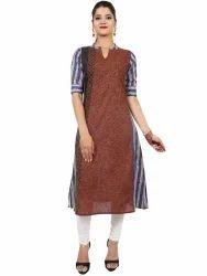 Womens Regular Fit Blue Cotton Printed Kurta