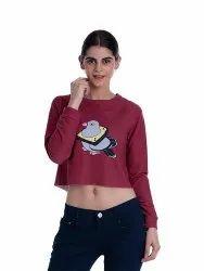 Girls Printed Crop Sweatshirt