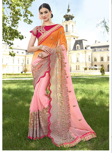 096f1ecb70 Bridal Wear 3604 Pink Faux Georgette Traditional Embroidered Saree, With  Blouse Piece