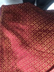 Safa Maroon Poly Knitted Velvets 60'' Knitted Streach Glitter Gold Print(Safa Print) Fabric, For Sherwanis & Kurtas