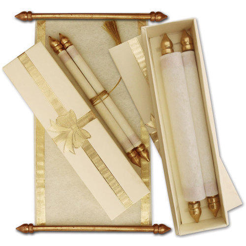 golden and white scroll wedding invitation card rs 15 00 piece