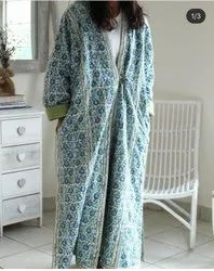 y Cotton Quilted Hand Block printed Long Kaftan / Robe, Size: Large
