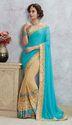 Orange & Navy Blue Art Silk & Georgette Saree With Blouse