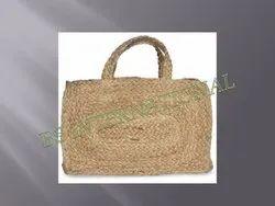 Brown Plain Jute Handbag & Purse