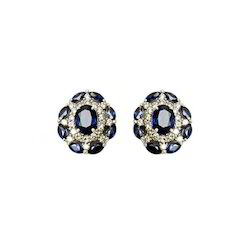 Fancy White Gold Diamond And Sapphire Earring