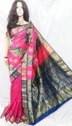 Party Wear Premium Quality Silk Original Zari Work Kanjivaram Saree, With blouse piece, 6.5 M