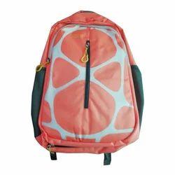 Nylon Printed Orange School Bag