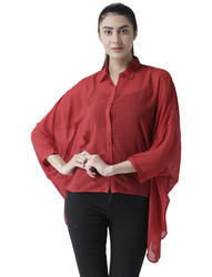 Womens Polyester Red Classic Shirt