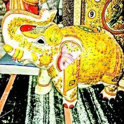 White Marble Marbal Elephant, For Interior Decor
