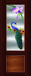Half Digital Peacock Printed Door