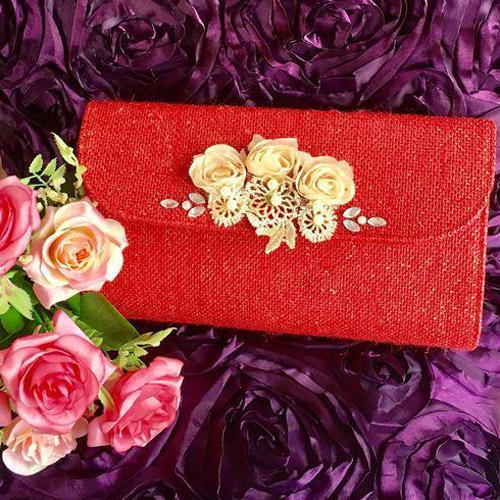 Eco-friendly Jute Clutch bag with pink flowers
