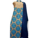 Ladies Blue And Beige Color Semi Stitched Chester Style Heavy Embroidered Woolen Suit