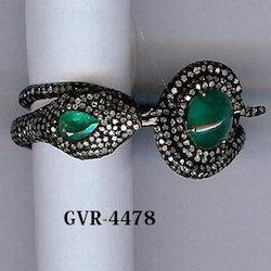 Emerald Stone 925 Silver Diamond Ring
