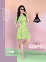 Ladies Green Printed Short Dress