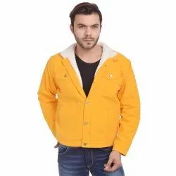 Skupar Yellow Men Denim Jacket With Fur