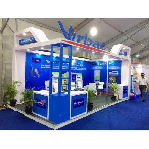 Exhibition Stall Height : Blue and white two side open exhibition booth size meter