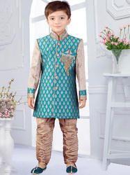 Blue Wedding Wear Cute Kids Sherwani