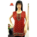 Cotton Red Sleeveless Printed Short Kurti
