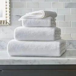 Cotton Plain White Bath Towel, For Hotel, 450-550 GSM