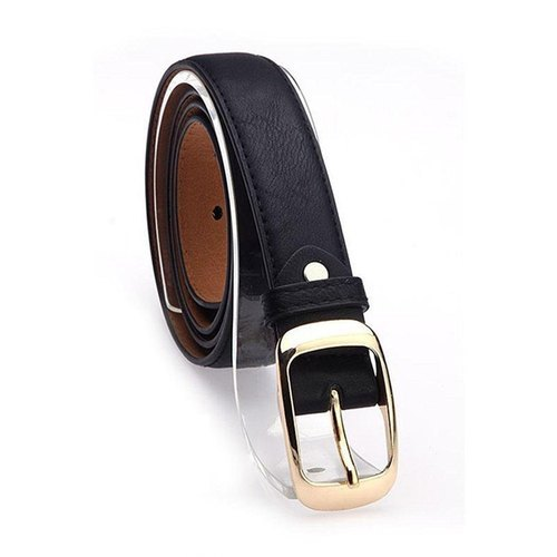 Black Leather Belt, Size: 40-45 inch