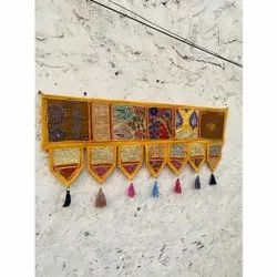 Decorative Hand Embroidered Patchwork Cotton Ethnic Wall Hanging Home Decor Toran