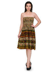 Multi Colour Printed Party Wear Western Dress