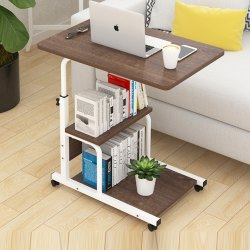 Foldable Hight Adjustable Studying Desk Bedside Table with Bookshelf Storage